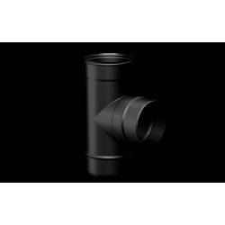 Pelletkachel rookkanaal zwart RVS, Ø80mm premium line, T-stuk 90° mannelijk - 10023