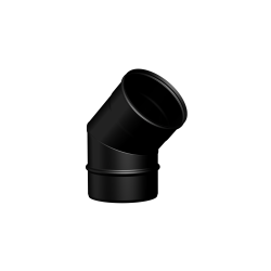 Pelletkachel rookkanaal zwart RVS, Ø100mm premium line, 45° bocht - 10031