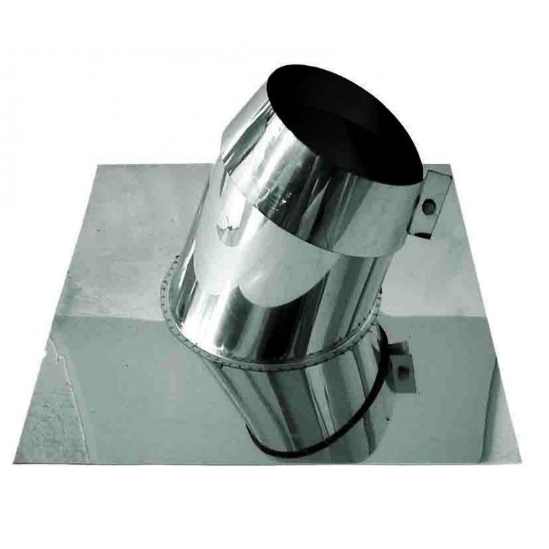 Rookkanaal RVS, 5°20° dakdoorvoer/dakplaat hellend, diameter Ø80 - 1011