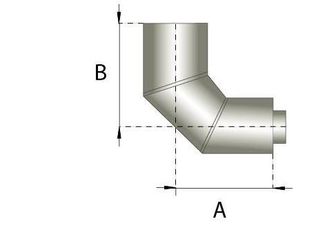 Dubbelwandig rookkanaal RVS, bocht 90° graden, diameter Ø180-230