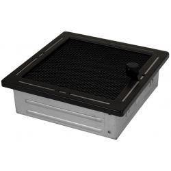 Ventilatierooster 160x160mm Zwart Vierkant Gaas - Verstelbaar + RVS Lijn - Design