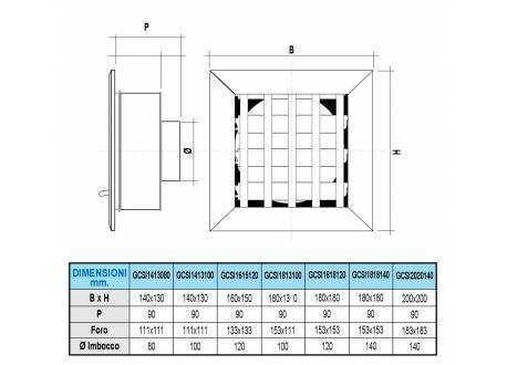 Ventilatierooster 180x180mm, aansluiting Ø140mm - 10948