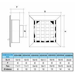 Ventilatierooster 140x130mm, aansluiting Ø100mm - 10962