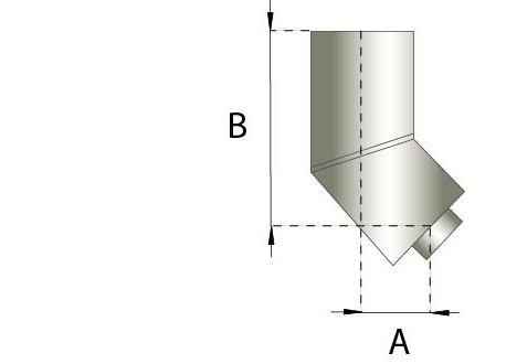 Dubbelwandig rookkanaal RVS, bocht 45° graden, diameter Ø180-230
