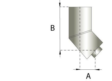 Dubbelwandig rookkanaal RVS, bocht 45° graden, diameter Ø250-300