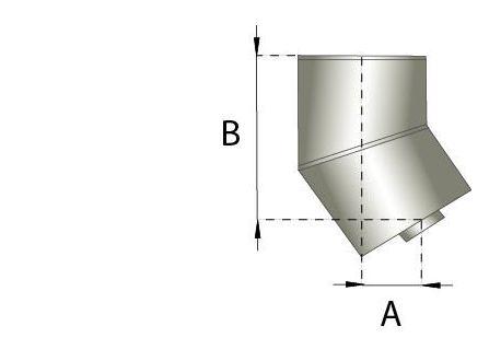 Rookkanaal RVS, bocht 30° graden, diameter Ø150-200