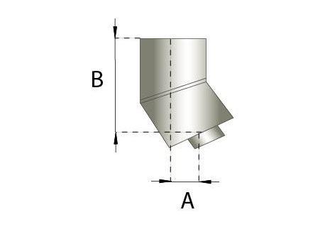 Dubbelwandig RVS, bocht 15° graden, diameter Ø150-200
