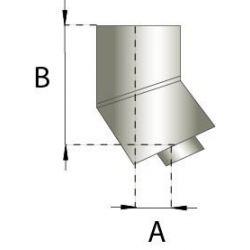 Rookkanaal RVS, bocht 15° graden, diameter Ø200-250