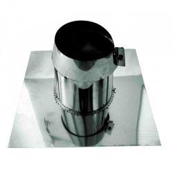 Rookkanaal RVS, 0°-5° dakdoorvoer/dakplaat plat, diameter Ø350-400mm