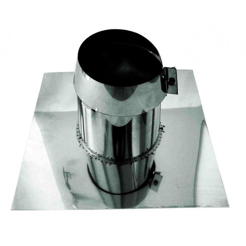 Rookkanaal RVS, 0°-5° dakdoorvoer/dakplaat plat, diameter Ø350-400mm - 1702