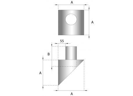 Rookkanaal RVS, Stoelconstructie 35cm lang, diameter Ø150-200