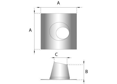 Rookkanaal RVS, 5°-20° dakplaat hellend, diameter Ø150-200