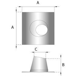 Rookkanaal RVS, 5°-20° dakdoorvoer/dakplaat hellend, diameter Ø180-230