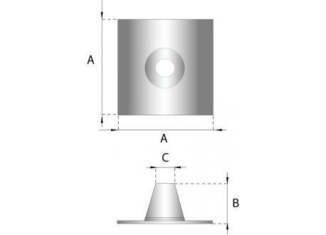 Rookkanaal RVS, 0°-5° dakdoorvoer/dakplaat plat, diameter Ø200-250 - 220