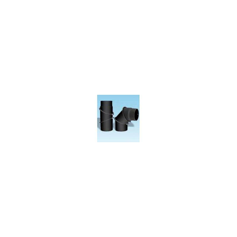 Kachelpijp dikwandig staal, diameter Ø130, bocht verstelbaar tot 90° - 2406