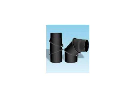 Kachelpijp dikwandig staal, diameter Ø130, bocht verstelbaar tot 90°, met inspectieluik - 2439