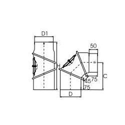 Kachelpijp dikwandig staal, diameter Ø130, bocht verstelbaar tot 90°, met inspectieluik