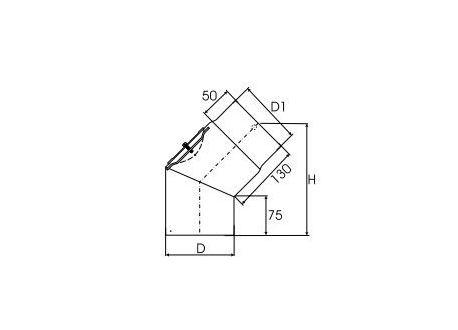 Kachelpijp dikwandig staal, diameter Ø130, 45° bocht met inspectieluik - 2456