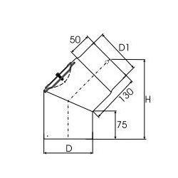 Kachelpijp dikwandig staal, diameter Ø150, 45° bocht met inspectieluik