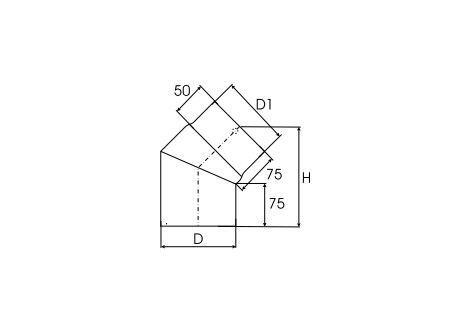 Kachelpijp dikwandig staal, diameter Ø150, 45° bocht