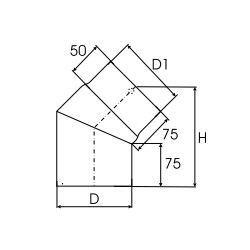 Kachelpijp dikwandig staal, diameter Ø140, 45° bocht