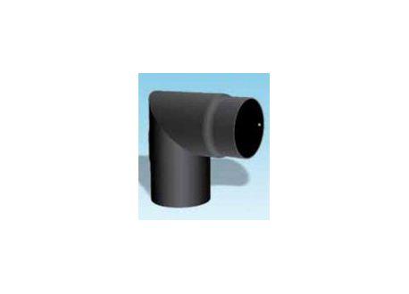 Kachelpijp dikwandig staal, diameter Ø130, 90° hoek, met inspectieluik