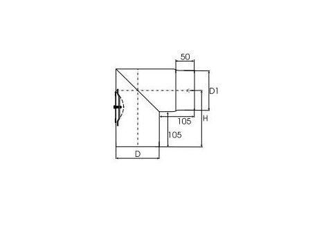 Kachelpijp dikwandig staal, diameter Ø150, 90° hoek, met inspectieluik - 2484