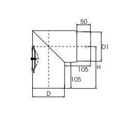Kachelpijp dikwandig staal, diameter Ø180, 90° hoek, met inspectieluik - 2486