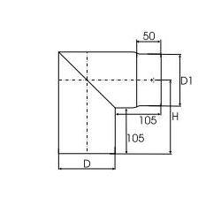 Kachelpijp dikwandig staal, diameter Ø140, 90° hoek - 2496