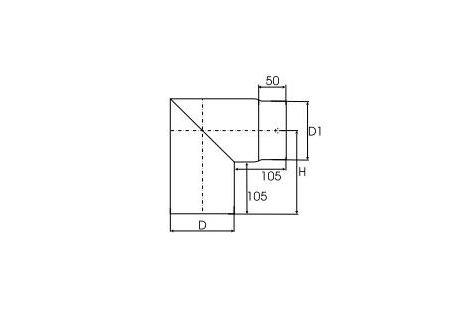 Kachelpijp dikwandig staal, diameter Ø120, 90° hoek  - 2500