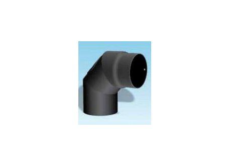 Kachelpijp dikwandig staal, diameter Ø130, 90° bocht, 3 segment, met inspectieluik - 2503
