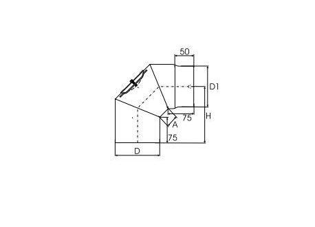 Kachelpijp dikwandig staal, diameter Ø130, 90° bocht, 3 segment, met inspectieluik