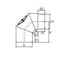 Kachelpijp dikwandig staal, diameter Ø140, 90° bocht, 3 segment, met inspectieluik - 2506