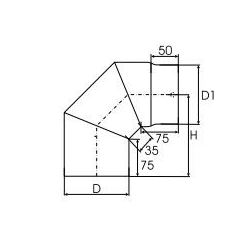 Kachelpijp dikwandig staal, diameter Ø200, 90° bocht, 3 segment - 2514