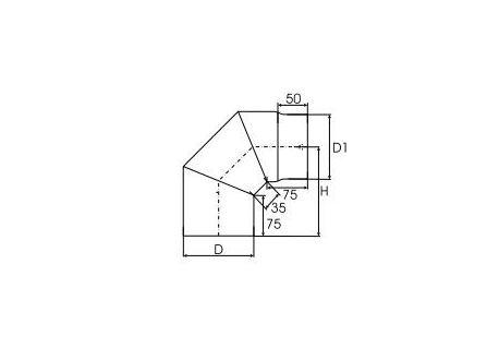 Kachelpijp dikwandig staal, diameter Ø150, 90° bocht, 3 segment - 2518