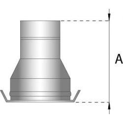 Dubbelwandig rookkanaal RVS, verloopstuk dubbelwandigenkelwandig, diameter Ø200-250 - 260