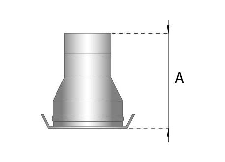 Rookkanaal RVS, verloopstuk dubbelwandig - enkelwandig, diameter Ø200-250