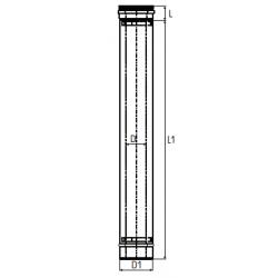 Concentrisch rookkanaal RVS, diameter Ø100-150, 250mm pijp