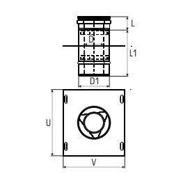 Concentrisch rookkanaal RVS, diameter Ø100-150, Topaansluiting  - 2703