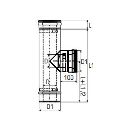 Concentrisch rookkanaal RVS, diameter Ø100-150, T-stuk 90° - 2707