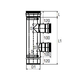 Concentrisch rookkanaal RVS, diameter Ø100-150, T-stuk 90° met dubbele zijuitgang - 2709