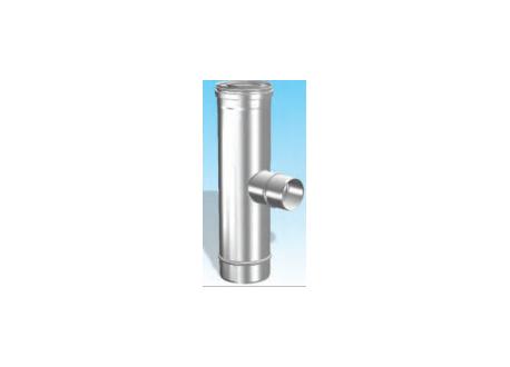 Concentrisch rookkanaal RVS, diameter Ø100-150, T-stuk 90° met rookgas zijuitgang - 2710