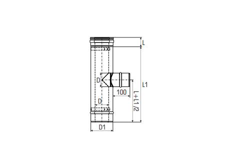 Concentrisch rookkanaal RVS, diameter Ø100-150, T-stuk 90° met rookgas zijuitgang - 2711