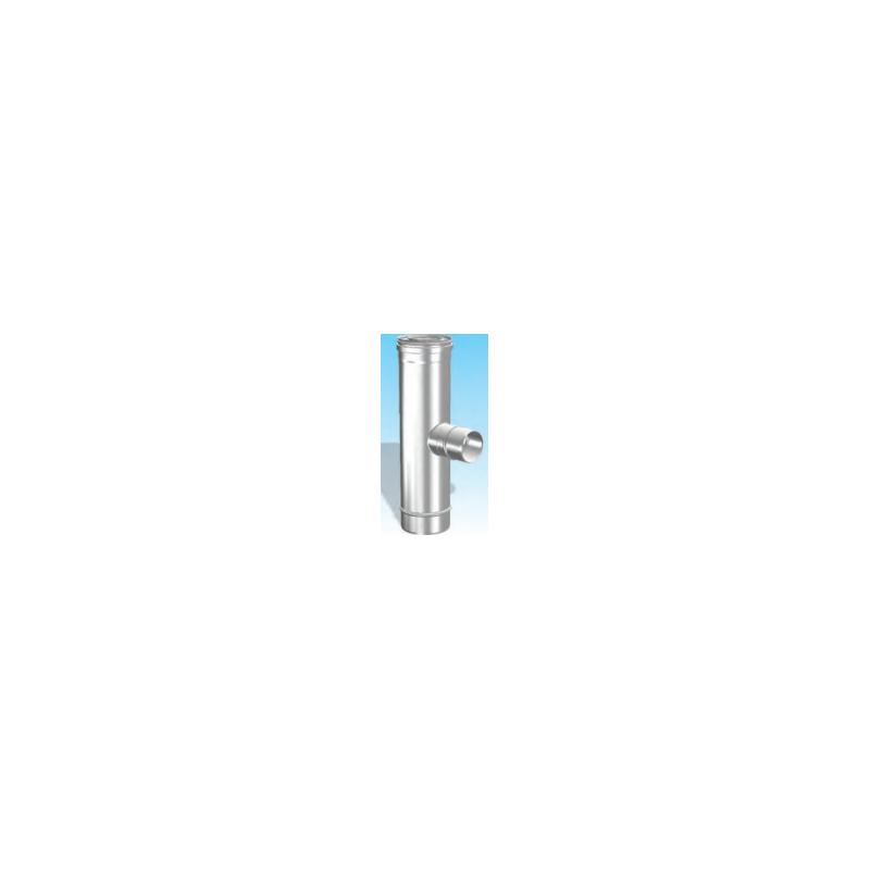 Concentrisch rookkanaal RVS, diameter Ø100-150, T-stuk 90° met lucht zijuitgang - 2712