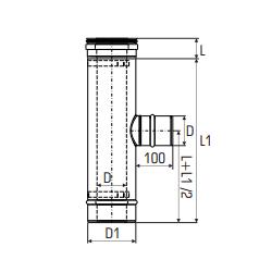 Concentrisch rookkanaal RVS, diameter Ø100-150, T-stuk 90° met lucht zijuitgang - 2713
