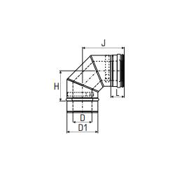 Concentrisch rookkanaal RVS, diameter Ø100-150, 90° bocht - 2715