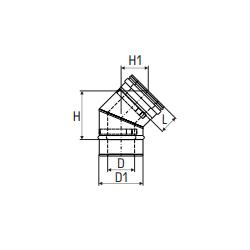 Concentrisch rookkanaal RVS, diameter Ø100-150, 45° bocht - 2716