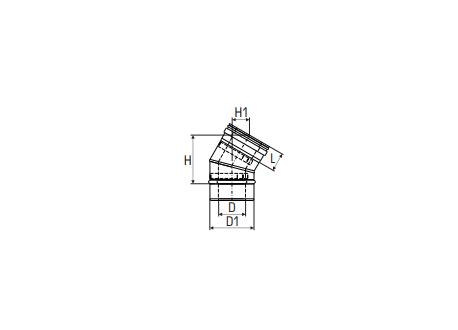 Concentrisch rookkanaal RVS, diameter Ø100-150, 30° bocht - 2719