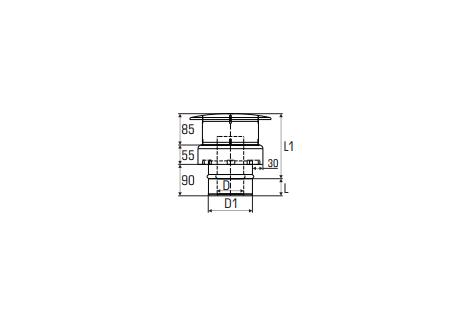 Concentrisch rookkanaal RVS, diameter Ø100-150, eindkap - 2722