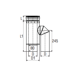 Concentrisch rookkanaal RVS, diameter Ø100-150, adapter - 2726